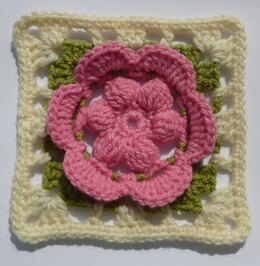 Flower in Square Crochet Granny Square Floral Afghan Block Motif