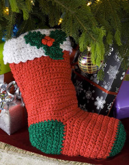 Crochet Holly Stocking in Red Heart Holiday - LW1871EN - Downloadable PDF