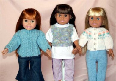 Weekend Casual Sweaters -  Knitting Patterns fit American Girl and other 18-Inch Dolls