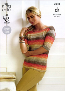 Ladies' Sweater in King Cole Shine Dk - 3843