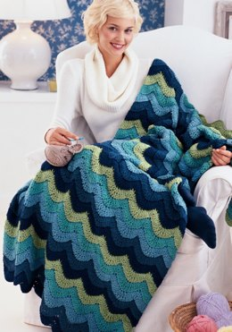 Ocean Waves Throw in Red Heart Super Saver Economy Solids - CTFeb08-66
