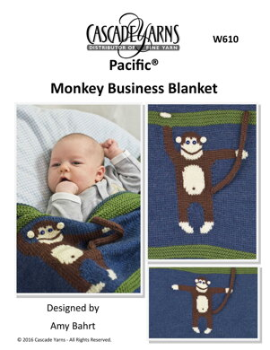 Monkey Business Blanket in Cascade Yarns Pacific - W610 - Downloadable PDF