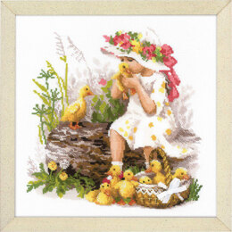 Riolis Girl with Ducklings Cross Stitch Kit - Multi