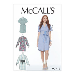 McCall's Misses' Dresses and Belts M7713 - Sewing Pattern