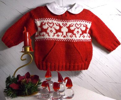 Christmas Sweater Pattern.Christmas Sweater With Pocket And Reindeers Knitting Pattern By Oge Knitwear Designs
