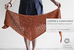 """Copper and Candlewax Shawlette by Sylvia McFadden"" - Shawl Knitting Pattern For Women in The Yarn Collective"