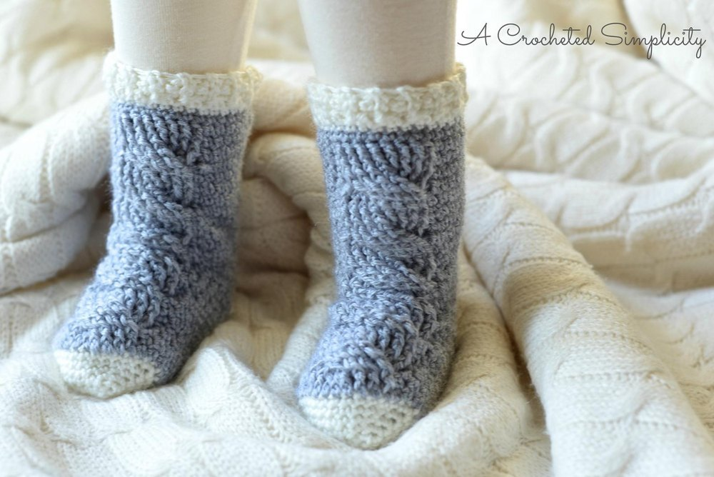 Knitting Patterns Footie Socks : Big Bold Cabled Slipper Socks & Footies (Baby) Crochet ...