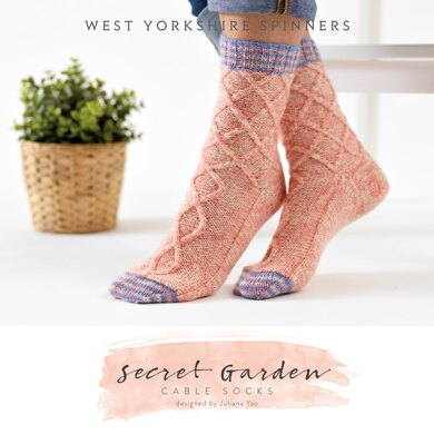 Secret Garden Cable Socks in West Yorkshire Spinners Signature 4 Ply - DBP0037 - Downloadable PDF
