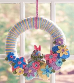 Easter Bunny Wreath in Red Heart Super Saver Economy Solids and Multis - LW3563