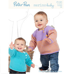 Yoked Sweaters, Pinafore Dress and Hat in Peter Pan Merino Baby DK - 1183