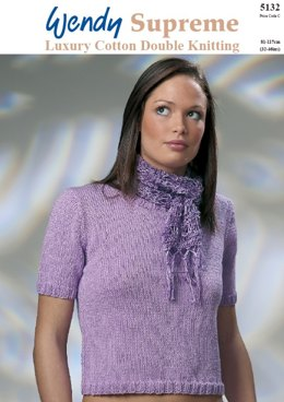 Short Sleeved Sweater and Scarf in Wendy Supreme Cotton DK - 5132