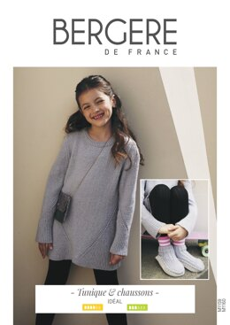 Girl Dress and Slippers in Bergere de France Ideal - M1159 - M1160 - Downloadable PDF