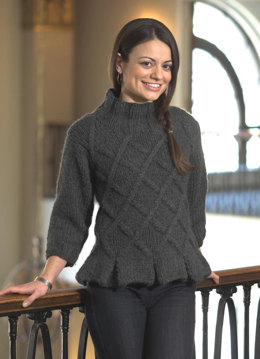 Women's Lattice Pullover with Peplum in Plymouth Yarn De Aire - 2115 - Downloadable PDF