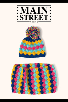 Harlequin Accessory Set in Main Street Yarns Shiny & Soft - Downloadable PDF