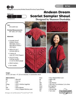 Scarlet Sampler Shawl in Cascade Yarns Andean Dream - W782 - Downloadable PDF