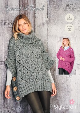 Women Ponchos in Stylecraft Special XL Tweed - 9807 - Downloadable PDF