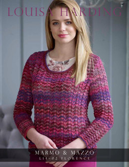 Ladies Lace Top in Louisa Harding Marmo and Mazzo - L14-02 - Leaflet