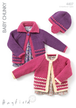 Child's Cardigans and Hat in Hayfield Baby Chunky - 4407