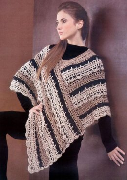 Striped Lacy Poncho