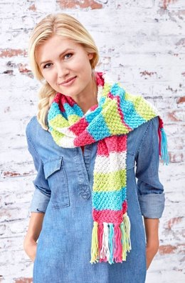 Bright Stripes Textured Scarf in Red Heart Super Saver Stripes - LM5806 - Downloadable PDF