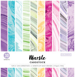 """American Crafts Colorbok 78lb Single-Sided Printed Cardstock 12""""X12"""" 30/Pkg - Marble"""