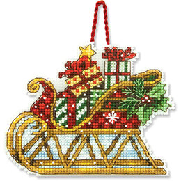 Dimensions Sleigh Ornament Cross Stitch Kit - 11cm x 8.5cm