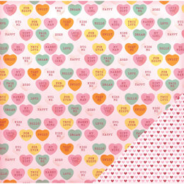 """American Crafts Valentine Double-Sided Cardstock 12""""X12"""" 12/Pkg - Candy Hearts"""