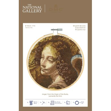 DMC The National Gallery - Angel, from the Virgin of the Rocks Cross Stitch Kit (with 7in hoop)