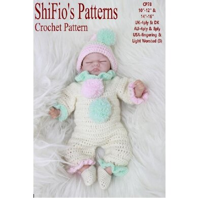 """Crochet Pattern for doll 10""""-12"""" & 14""""-16"""" UK & USA terms  #78"""