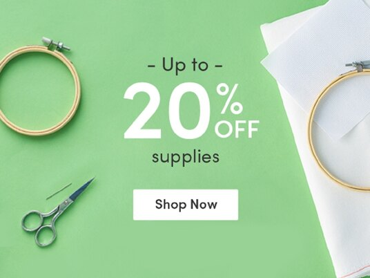 Up to 20 percent off cross stitch & embroidery supplies