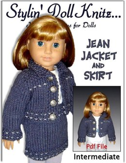 Doll knitting pattern. Fits American Girl Dolland 18 inch doll. Jean jacket and Skirt 012