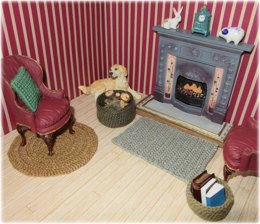1:12th scale crochet rugs & baskets