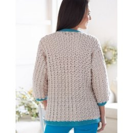 Cluster Stitch Cardigan in Bernat Satin
