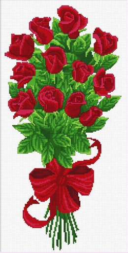Needleart World Bouquet of Red Rose Buds No-Count Cross Stitch Kit - 21 x 43cm (Multi)