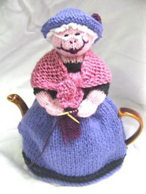 Knitting Pattern Tea Cosy 8 Ply : Grandma and Her Cat Tea Cosy Knitting pattern by Rian Anderson Knitting Pat...