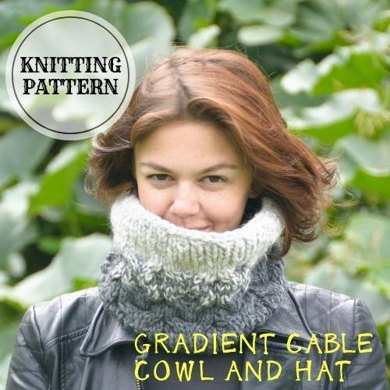 Gradient Cable Neck Cowl And Hat Knitting Pattern By Bummbul