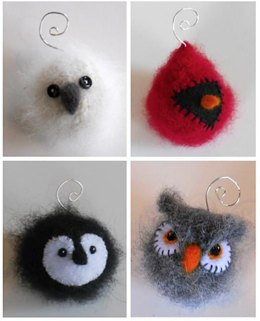 Felted Woolly Bird Holiday Ornaments