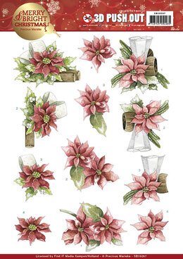 Find It Trading Precious Marieke Punchout Sheet - Red Poinsettia, Merry & Bright