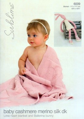 Heart Blanket and Ballerina Bunny in Sublime Baby Cashmere Merino Silk DK - 6009