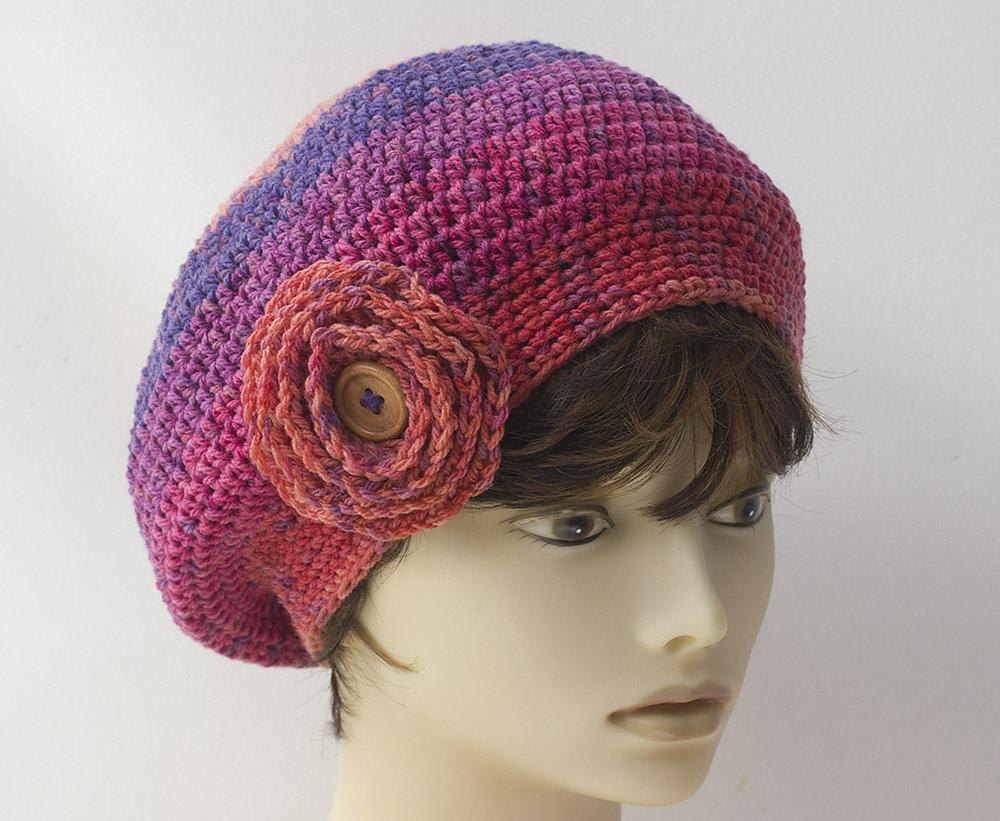 Caron Cupcakes Flower Beret Crochet Pattern By Judith Stalus