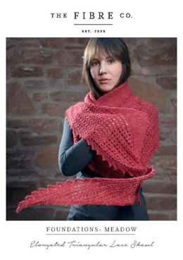 Elongated Triangular Lace Shawl in The Fibre Co. Meadow - Downloadable PDF