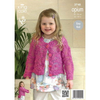 Girls' Cardigans in King Cole Opium - 3748