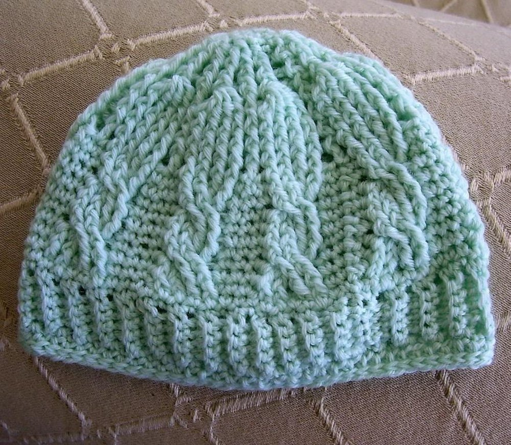 Cable Stitch Crocheted Baby Beanie Crochet Pattern By Lisa Van