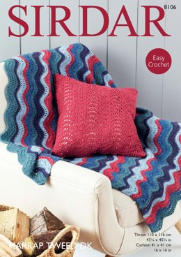Throw & Cushion Cover in Sirdar Harrap Tweed DK - 8106 - Downloadable PDF