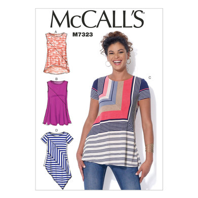 McCall's Misses' Asymmetrical Seam Detail Tops M7323 - Sewing Pattern