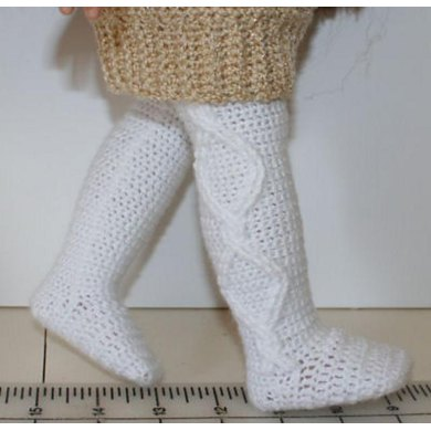 "Crochet cable tights for 18"" dolls"