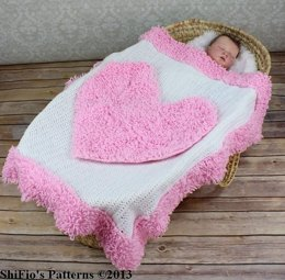 228-Loopy Heart Baby Afghan Crochet Pattern #228