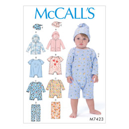 McCall's Infants' Hoodie, Bodysuits, Pants and Beanie M7423 - Sewing Pattern