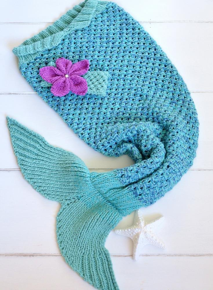 Mermaid Tail Snuggle Blanket Knitting Pattern By Caroline Brooke
