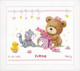 Vervaco Bear & Present Baby Sampler Cross Stitch Kit - 29cm x 23cm